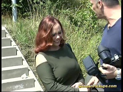 German Amateur Public video: Picked up chubby german redhead
