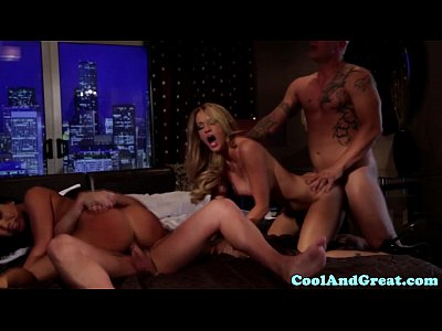 Swingers Deepthroat Ass video: Glamcore swingers dp action during a foursome
