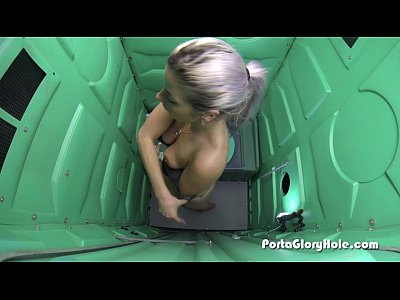 Blowjob Outdoor Swallow video: Porta Gloryhole Blonde woman need cum in mouth