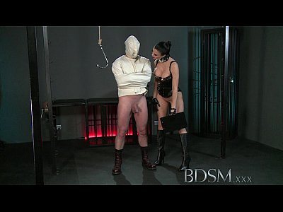 Dominant Domination Dungeon video: BDSM XXX Slave boy in straight jacket and anal hook swings brick from his balls to please his Mistre