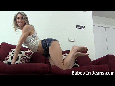 Denim Domination Femdom video: These sexy green jeans are totally skin tight JOI