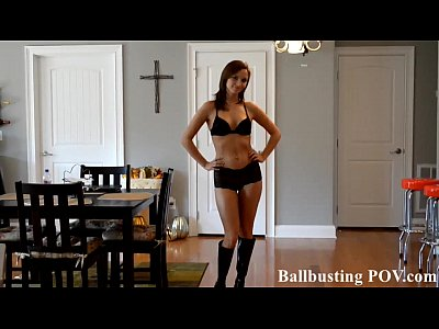 Femdom Fetish Ballbusting video: Kicking you in the balls is so much fun