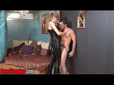 Strapon Femdom movie: Goddess Kyaa Ballbusting and Face Fucking