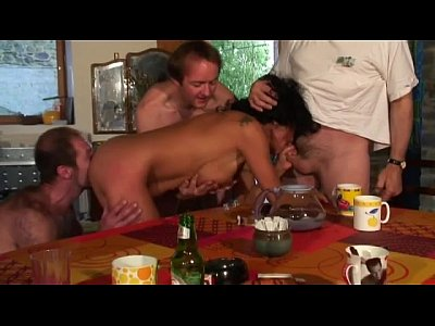 Gangbang French video: rough anal fuck and fisting gangbang with our voyeur papy
