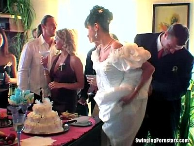 Club Gangbang Group video: Wedding sluts are fucking in public