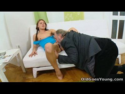 Blowjob Couple Shaved video: Anna has her pussy eaten out by older man