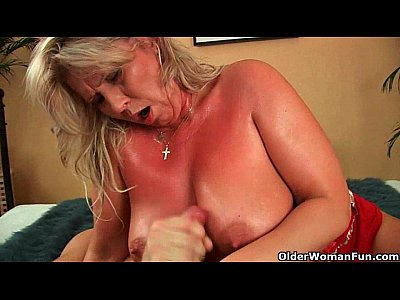 Porno video: Big mature tits get a cum glazing