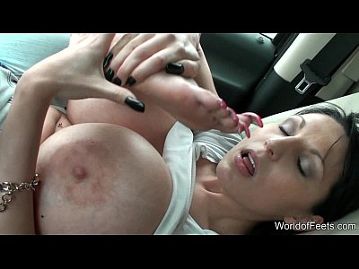 WorldofFeets - shows and kisses her long toenails
