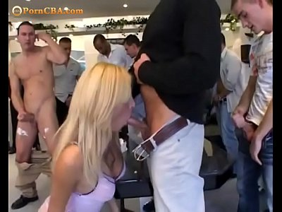 Extreme gangbang with shemale