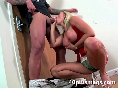 Horny housewife gets on her knees