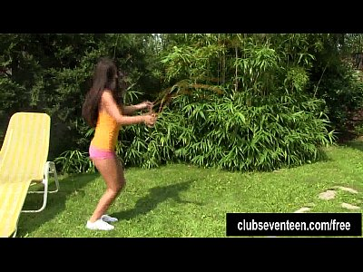 Softcore Teen Shaved video: Tanned teen Vivien masturbating outdoors
