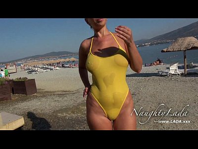 Beach Boobs Public video: Sheer when wet swimwear and flashing