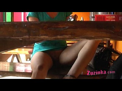 Masturbation Fingering Voyeur video: Horny Zuzinka is fingering herself in public at a bar