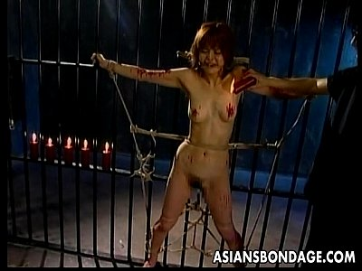 Bdsm Bondage Boobs video: Skinny Japanese chick tied up and drenched in hot wax