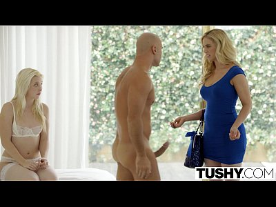Blonde Blowjob Facial video: TUSHY First Anal For Cherie Deville and Samantha Rone