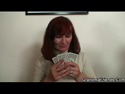 Grandmother Granma Oldlady video: Granny plays strip poker then double dicked