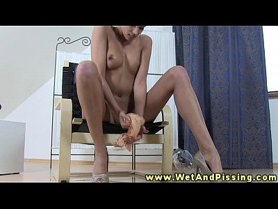 Piss fetish watersports babe toy plays