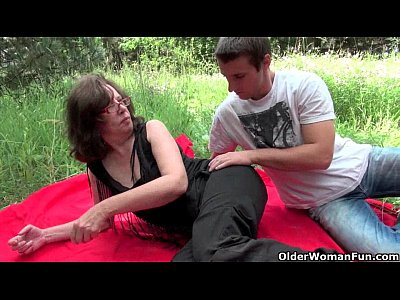 Hairy Milf Mature video: Granny gets her asshole invaded outdoors