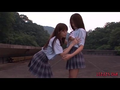 Lesbian Underwear xxx: 2 Schoolgirls Kissing Petting While Standing Outdoor