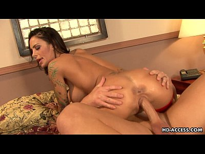 Tattooed slut with huge boobs rides a fat boner