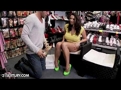 Brunette Doggy Bigboobs video: Shoe shop delights