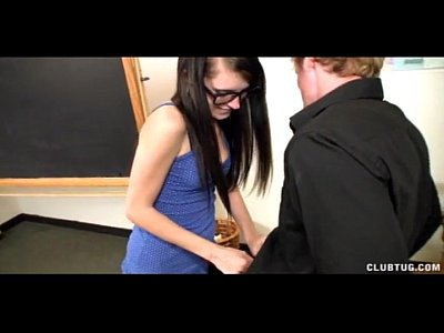 Handjob School Schoolgirl video: Four-Eyed Schoolgirl Jerks The Teacher