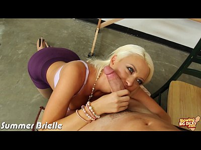 Blonde Summer Brielle blowing a big cock