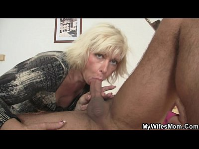 Mature Cheating movie: Blond mother-in-law seduces me but wife finds out!