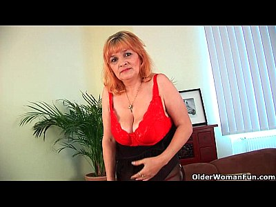 Milf Mature Granny video: Hairy grandma with big tits has solo sex with a dildo