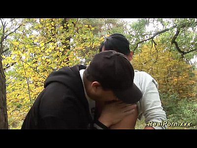 Amateur Outdoor Stepmom video: wild anal fuck in the wood
