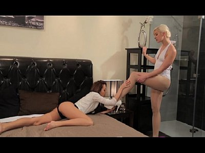 Strapon Sex Blonde video: StrapOn Blonde and Brunette lesbians making love with sex toy