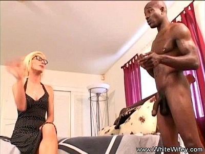 Interracial Hardcore Brunettes video: Blonde MILF Lets Black Neighbor Fuck Her