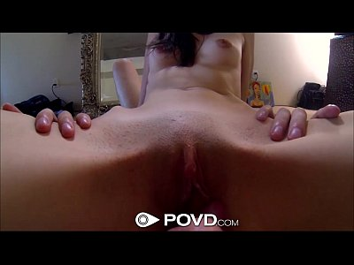 Pov Teen Blowjob video: POVd Pretty brunette get fucked in front of mirror