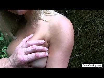 Blonde babe Jenna gets her tight pussy banged in the bushes by the pervy agent