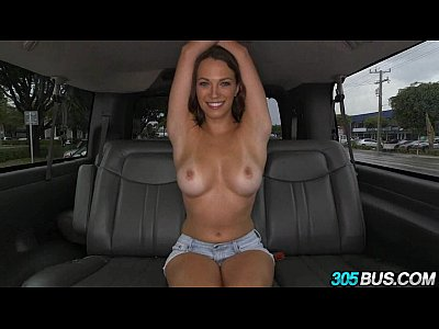 Blonde Blowjob Brunette video: Lily Love\\&#039_s amazing tits on the 305bus.1