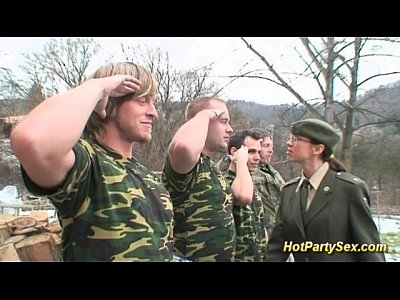 Hardcore Bukkake Group video: military bukkake orgy