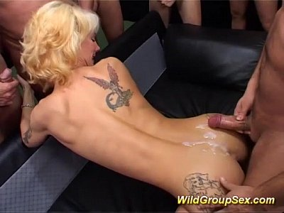 Gangbang Amateur Bukkake video: skinny tattooed MILF wild gang banged
