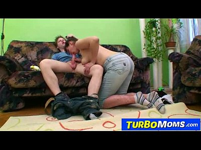 Czech Milf Granny video: Hirsute housewife Karin sex with a teen boy