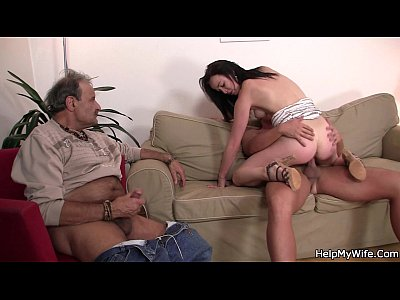Porno video: Old husband watching his wife riding