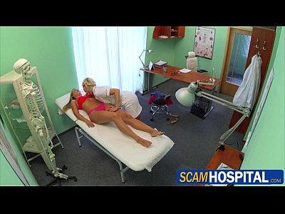 Doctor European Pornstar video: Beautiful new patient sexually seduces by the pervy blonde nurse
