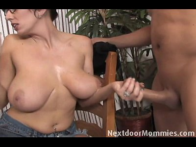 Blowjob Glasses Brunette video: Big breasted mom strokes a black cock