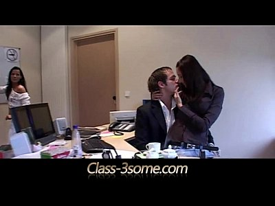 Brunette Threesome Skinny video: Maid and office assistant threesome with the boss