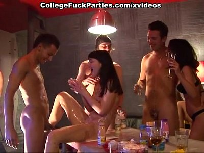College orgy with girl poured with liquor and group fucked