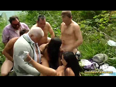 German Gangbang Outdoor video: outdoor lederhosen groupsex orgy