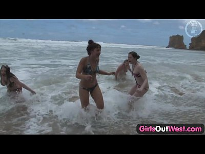 Australian Babe Beach video: Girls Out West - Nasty lesbian orgy at the beach