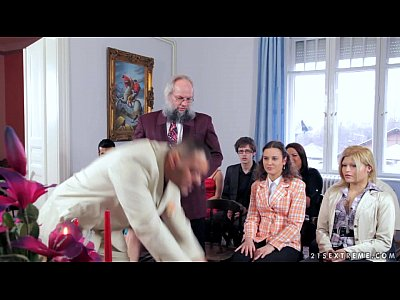 Blowjobs Brunette Domination video: Antonio punishes Wild Devil at the wedding