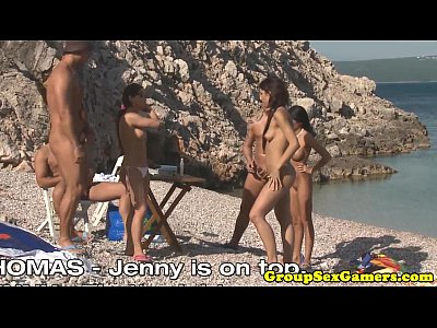Bikini Cumonass Cumswallowing video: European beach sexgames