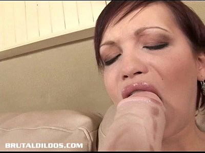 Brunette Brutal Dildo video: Short haired russian Tina devouring a brutal dildo with her pussy