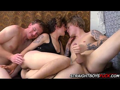 Amateur Threesome movie: The sex is real and these straight boys really get off on it