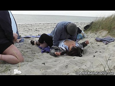 Beach Group Outdoor vid: Slutwife fucked and creampied by strangers on the beach